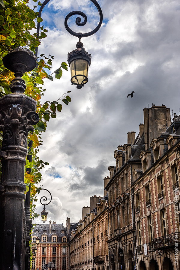 The buildings of Place des Vosges under a temperamental sky with lamp posts and foliage