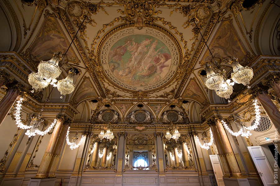 D'Orsay ballroom with ceiling murals and chandeliers in Paris