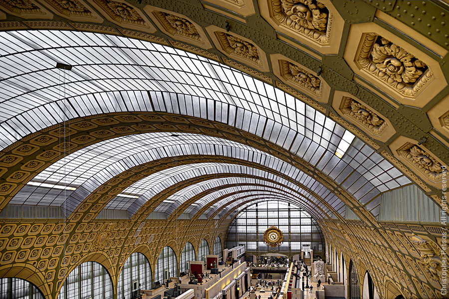 The main hall of the D'Orsay Museum in Paris showing the details of the arched ceiling