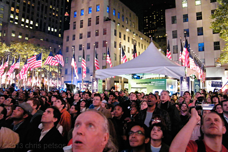 Election night at Rockefeller Center